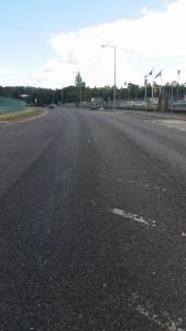 Faded lining on the Glen Ellan Road